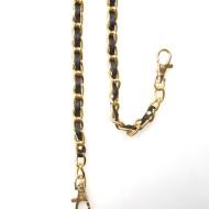 ◎革付きメタルチェーン 長さ:88cm 色:ゴールド/メタル、黒/革