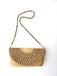 ※こちらの商品は少量につきナイジェリアでの販売のみです。 ◎革付きメタルチェーン 長さ:88cm 色:ゴールド/メタル、黒/革
